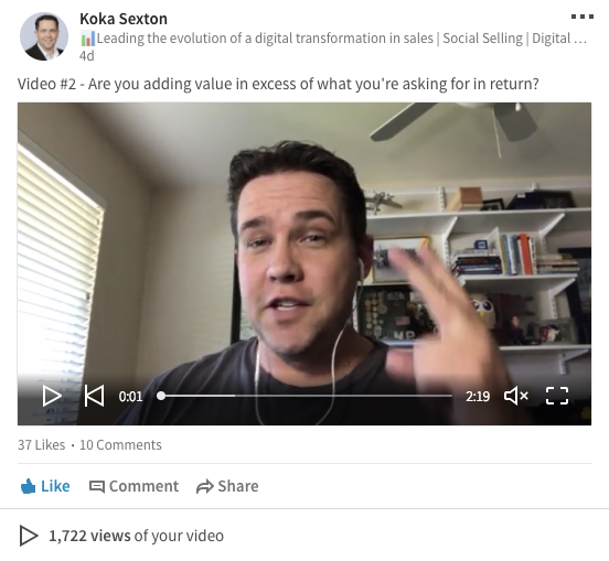 social selling how to use LinkedIn video 2